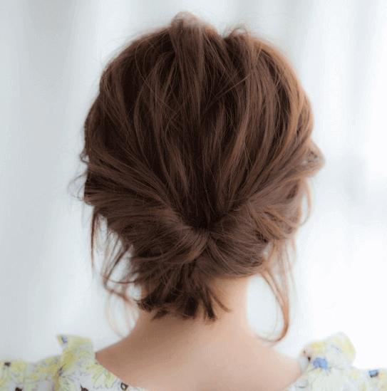 浴衣の髪型 くるりんぱ